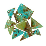 Patagonia Turquoise Flat Triangle Beads with 3mm Front Top-drilled Hole