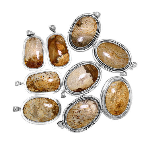 Petrified Louisiana Palm Wood Sterling Silver Pendants - Wholesale.