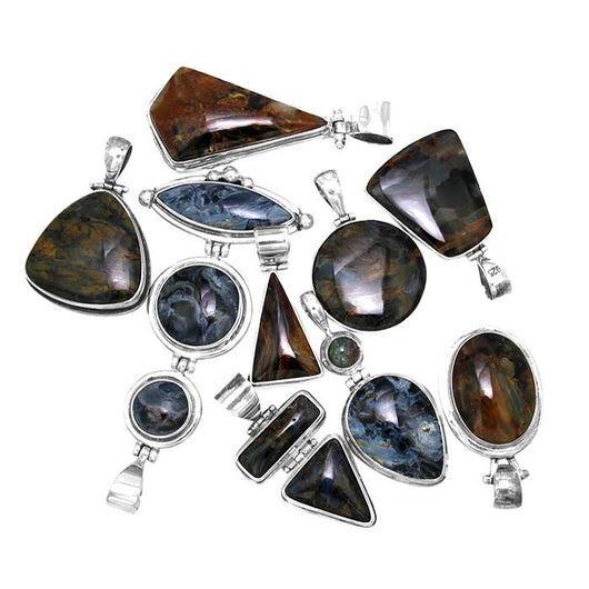Blues and Golden Brown Namibian Pietersite set in Sterling Silver Pendants - Wholesale.