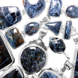 Close Up Photo of Namibian Blue Pietersite Sterling Silver Pendants - Wholesale.