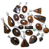 Namibian Golden Brown Pietersite Sterling Silver Pendants - Wholesale.