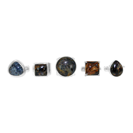 Pietersite Sterling Silver Rings - in Assorted Setting Styles. Limited sizes (5.5, 6.0, 6.5, 7.0, 7.5, and 8.0). Wholesale.