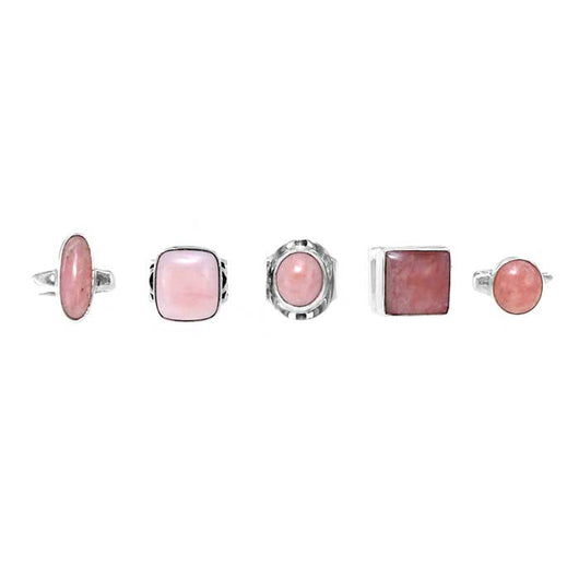 Pink Peruvian Sterling Silver Rings in Assorted Setting Styles. Sizes limited to Women's 7.0, 7.5, 8.0