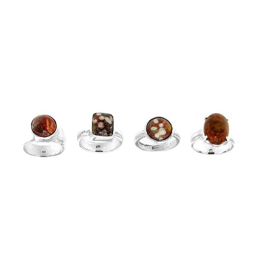 Poppy Jasper Sterling Silver Rings in Assorted Setting Styles - women's ring sizes range from 6.0 - 9.5.
