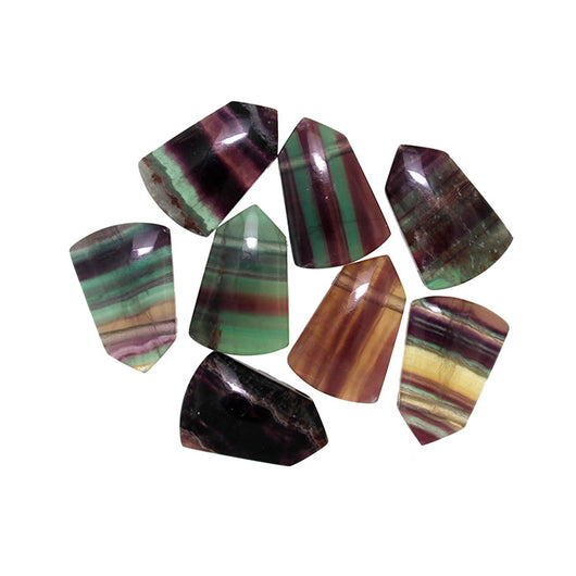 Rainbow Fluorite Flat Back Shield Beads with 3mm Top Side Hole.