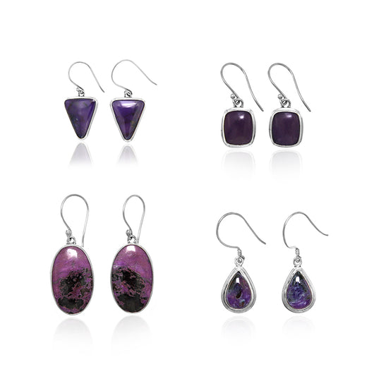 Sugilite Dangle Earrings in Sterling Silver Settings - Wholesale.
