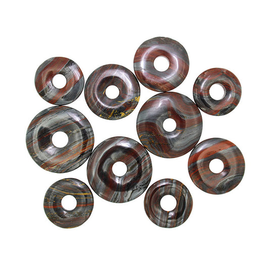 Tiger Iron Assorted Donut Beads with 8mm - 9mm center holes