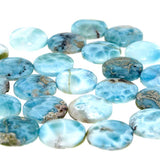 Side View of Larimar Calibrated Round Cabochons - Wholesale.