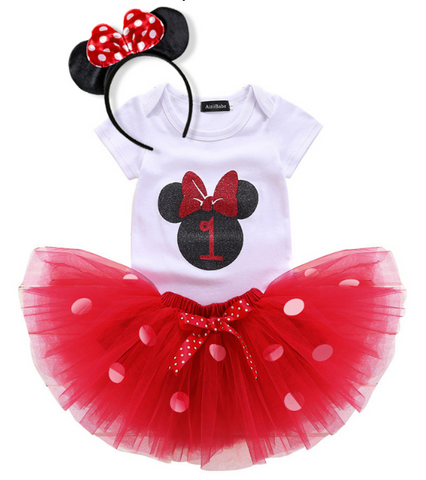 1st or 2nd Birthday Romper Minnie Sets