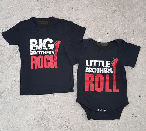 Big Brothers Rock + Little Brothers Roll T-Shirt & Romper (Set of 2) - Little Mr & Mrs Cheeky Pty Ltd