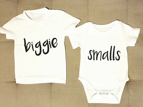 Biggie - Smalls T-shirt & Romper Set - Little Mr & Mrs Cheeky Pty Ltd
