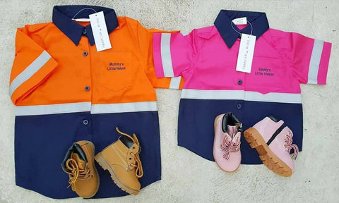 Daddy's or Mummy's Little Helper - Kids Work Shirts PINK or ORANGE (IN STOCK) - Little Mr & Mrs Cheeky Pty Ltd
