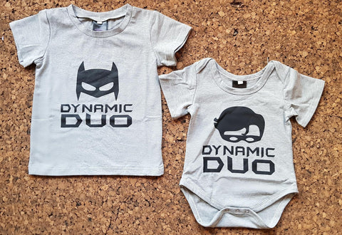 Batman & Robin Dynamic Duo T-shirt and Romper Set - Little Mr & Mrs Cheeky Pty Ltd