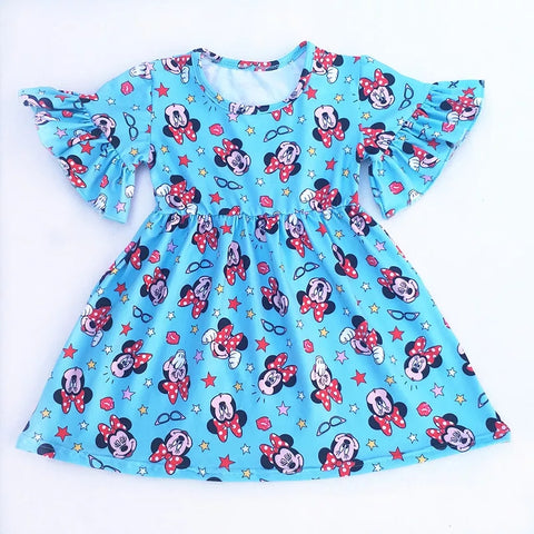 Blue Ruffle Minnie Dress - Little Mr & Mrs Cheeky Pty Ltd