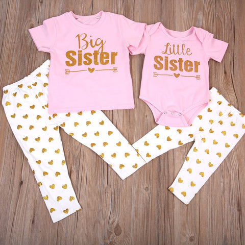 Big Sister + Lil Sister Golden Hearts: Set of 2 - Little Mr & Mrs Cheeky Pty Ltd
