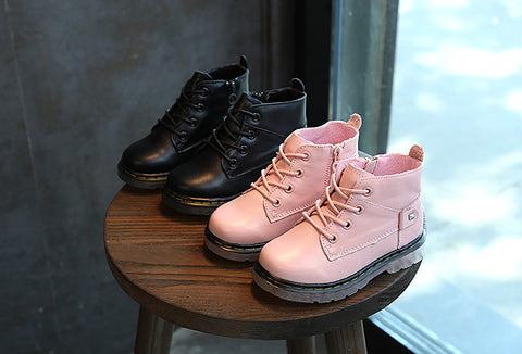 Military Boots (Genuine Leather ) - Toddler (Pink or Black) - Little Mr & Mrs Cheeky Pty Ltd