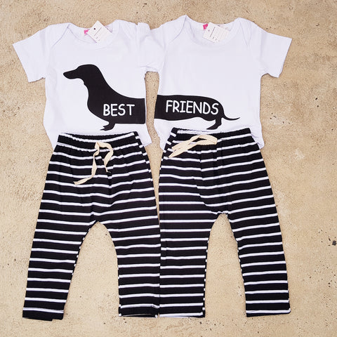 Best Friends Sausage Dog Romper Set - Little Mr & Mrs Cheeky Pty Ltd