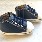Blue Leather High Tops - Little Mr & Mrs Cheeky Pty Ltd
