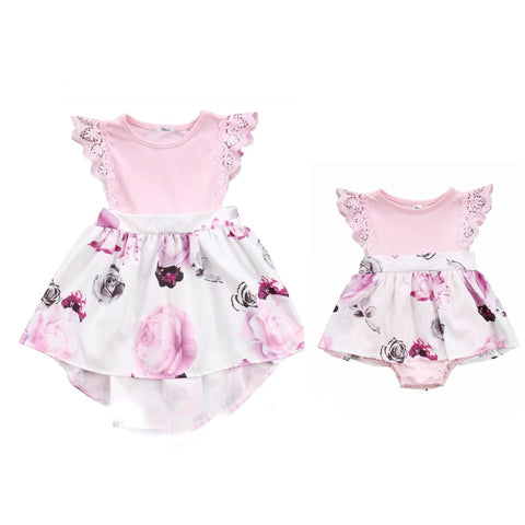 Twinning Pink Floral: Big Sister + Little Sister Set of 2 - Little Mr & Mrs Cheeky Pty Ltd