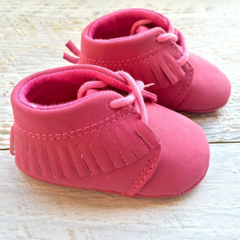 Suede Booties - Brown & Pink - Little Mr & Mrs Cheeky Pty Ltd