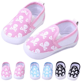 Skull Canvas Shoes: Black, Pink & Blue