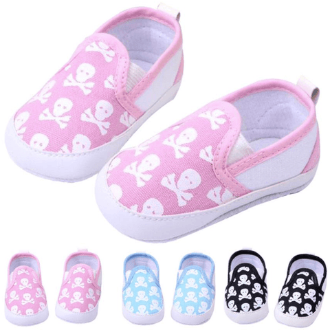 Skull Canvas Shoes: Black, Pink & Blue - Little Mr & Mrs Cheeky Pty Ltd