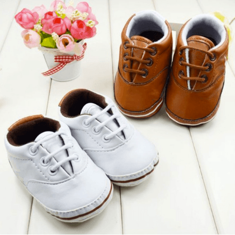 Booties - Brown & White - Little Mr & Mrs Cheeky Pty Ltd