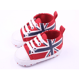 Flagged High Tops: White, Red, Green, Light Blue & Navy - Little Mr & Mrs Cheeky Pty Ltd