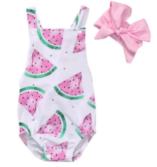 Little Miss Daisy: Watermelon Romper Set - Little Mr & Mrs Cheeky Pty Ltd