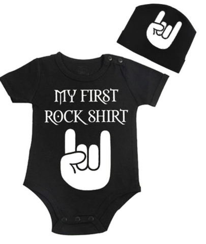 My First Rock Shirt - Romper & Beanie - Little Mr & Mrs Cheeky Pty Ltd