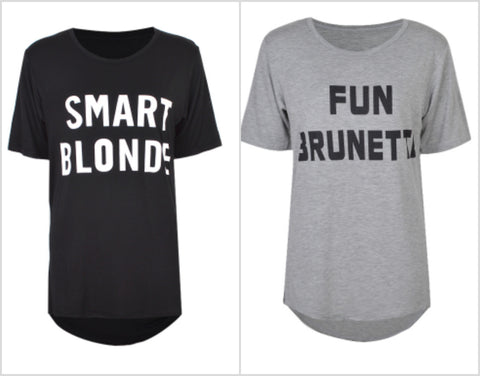 Fun Brunette / Smart Blonde Women's Tees - Little Mr & Mrs Cheeky Pty Ltd