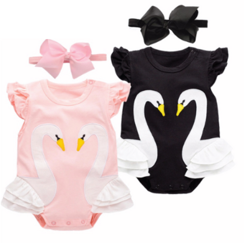 Swan Princess: Romper & Headband - Little Mr & Mrs Cheeky Pty Ltd