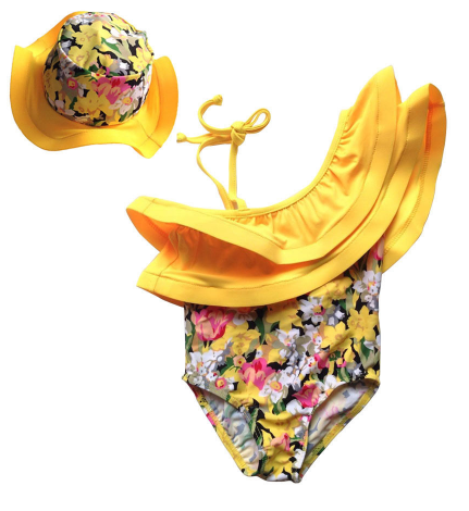 Chica:  1-piece Bikini Set + Hat - Little Mr & Mrs Cheeky Pty Ltd