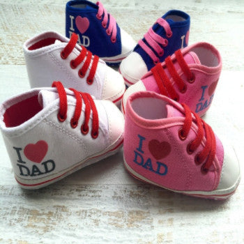 """I LOVE DAD"" High Top Booties - White, Blue & Pink"