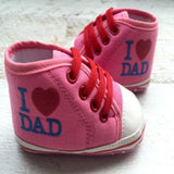 """I LOVE DAD"" High Top Booties - White, Blue & Pink - Little Mr & Mrs Cheeky Pty Ltd"