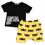 I can't do time outs bro: Shirt & Shorts Set - Little Mr & Mrs Cheeky Pty Ltd