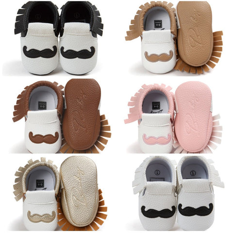 Baby Moustache Mocs - Various Colours