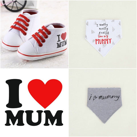 I Love Mummy High Tops + Bib - Little Mr & Mrs Cheeky Pty Ltd