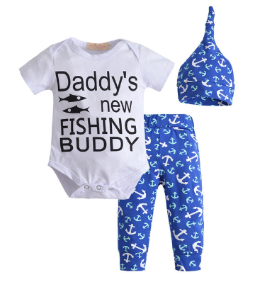 Daddy's New Fishing Buddy Romper Set - Little Mr & Mrs Cheeky Pty Ltd