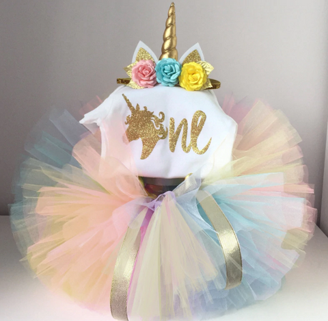 1st (ONE) Unicorn Tutu Romper + Headband Set