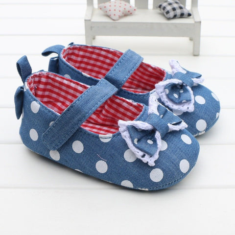 Girls Polka Denim Bows - Little Mr & Mrs Cheeky Pty Ltd