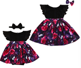 Twinning Black Floral: Big Sister + Little Sister Set of 2 - Little Mr & Mrs Cheeky Pty Ltd