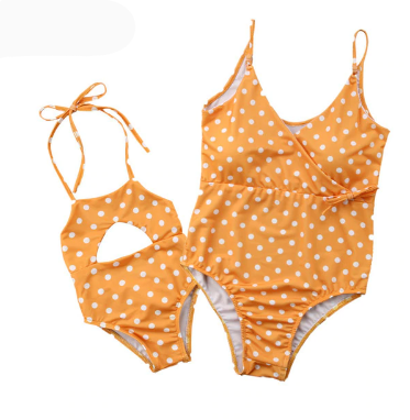 Orange Polka: Matching Mummy & Daughter Swimsuit Set (Mum + 0-24months yr size)