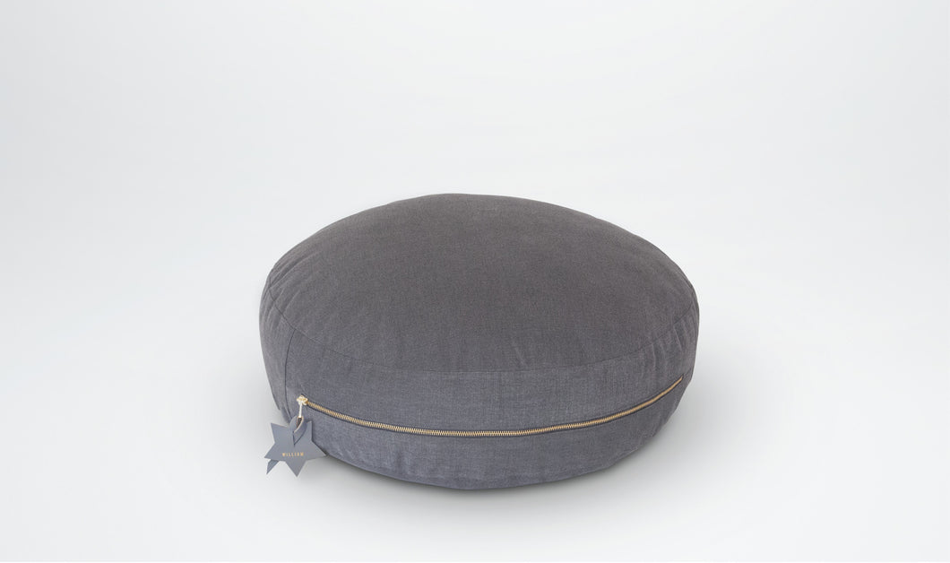 Valentine Floor Cushion (Round) with Star Adornment - Grey & Gold