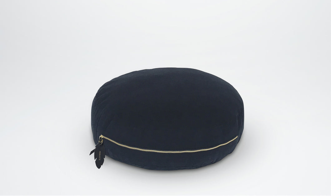 Valentine Floor Cushion (Round) with Feather Adornment - Navy & Gold | Little Connoisseur