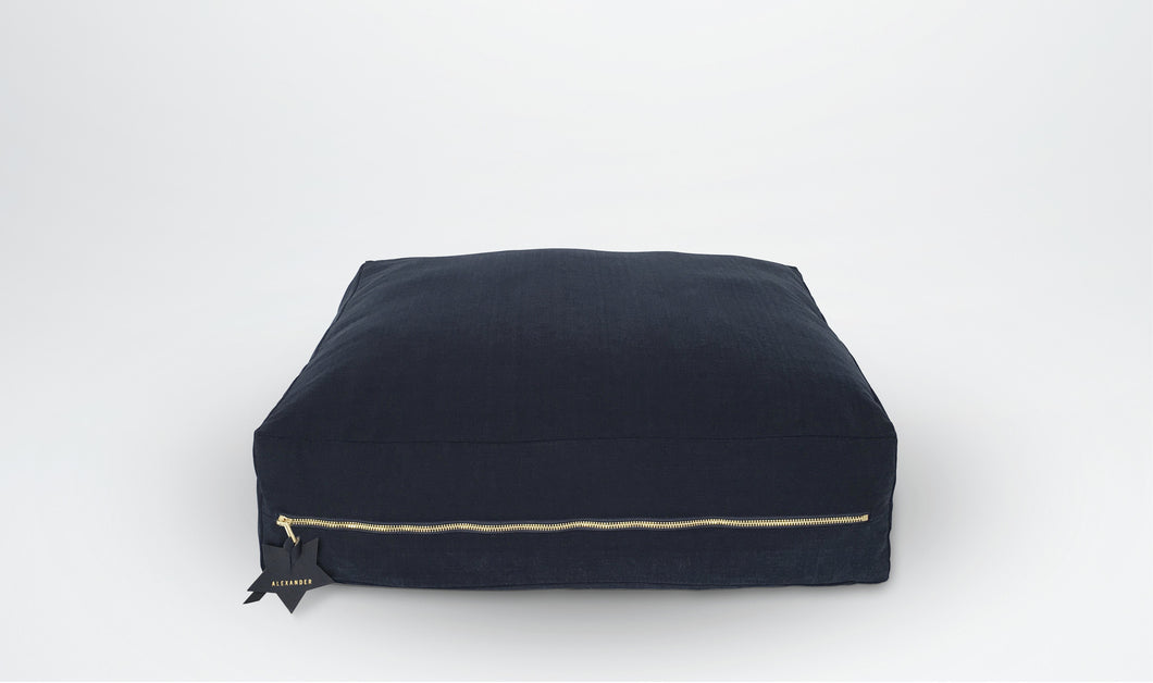 Oliver Floor Cushion (Square) with Star adornment - Navy & Gold