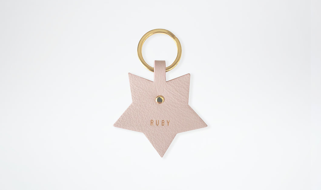 Personalised Leather Bag Charm - Star, Blush & Gold