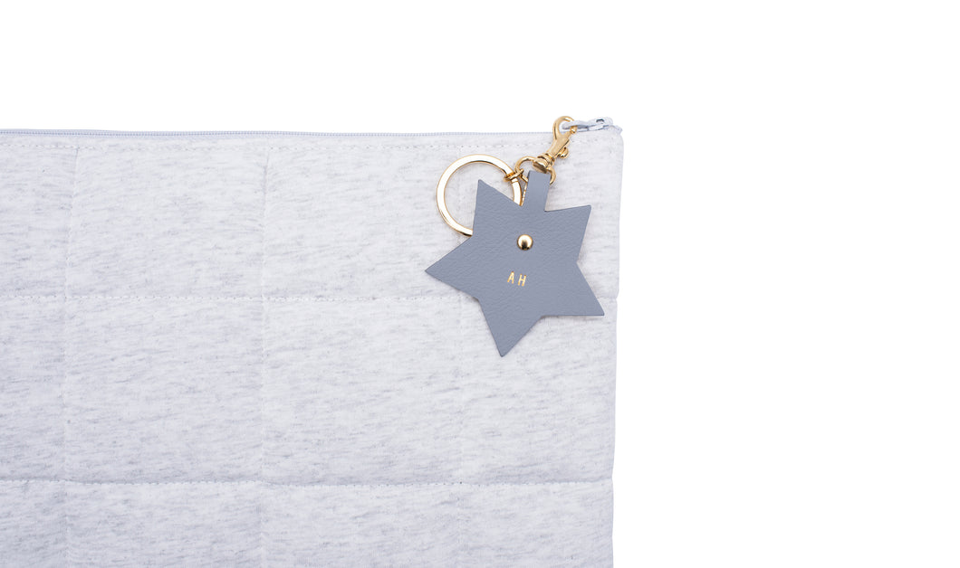 Personalised Nappy Clutch with Star Charm  - Light Grey