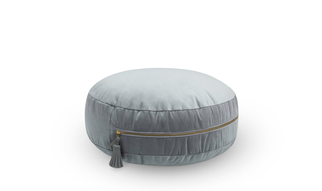 Velvet Floor Cushion w/ Tassel - Armour Grey