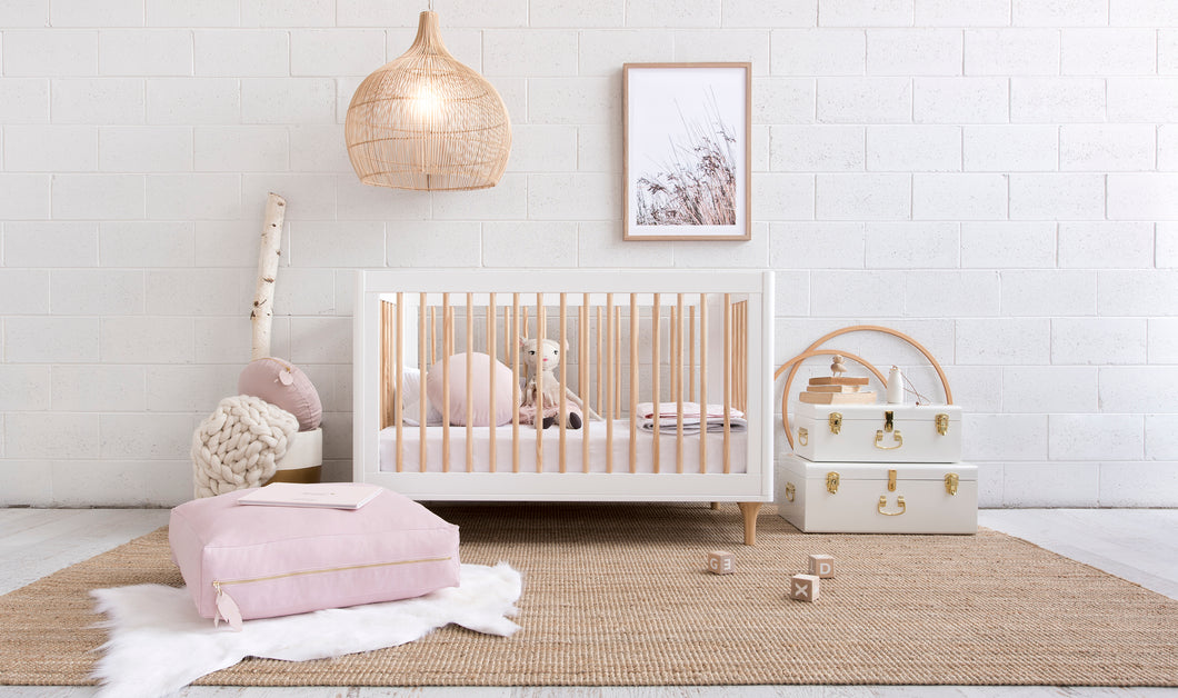 Girls nursery featuring Oliver Floor Cushion - Blush & Gold